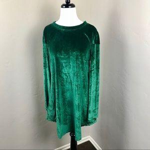 NWT! Reborn Emerald Green Velvet Tunic Dress